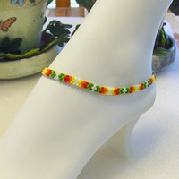 "Southwestern Design Hand Beaded Anklet/Ankle Bracelet In Green, And Fire Colors-Fits 9 1/2"" Ankle"