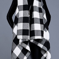 Plaid Collarless Sleeveless Cardigan