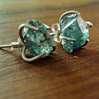 Blue Zircon Earrings Rough Gemstones and Sterling by flintandspark