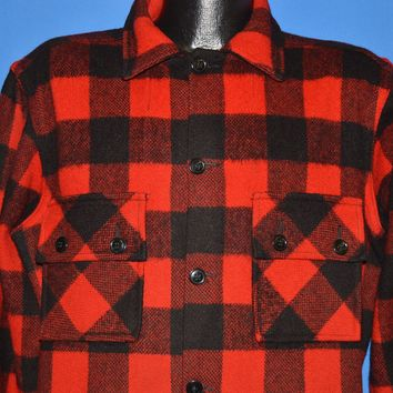 50s Buffalo Red And Black Plaid Shirt Large