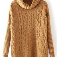 Brown Cowl Neck Cable Knit Sweater