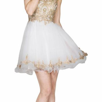 Bateau Neck Off White Embroidered Homecoming Short Dress Tulle