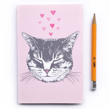 Cute Pink Tabby Cat Journal, blank sketch book, recycled paper, small pocket size, kitty love design with pink hearts