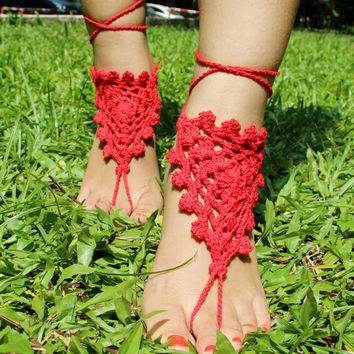 Handmade Crochet Barefoot Sandals ,Nude shoes, Foot jewelry, Wedding, Victorian Lace, Sexy, Yoga, Anklet , Bellydance,Steampunk, Summer Beach Pool,Ethnic,Gift-15