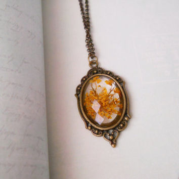 Orange queen ann lace pendant, resin jewelry, antique brass necklace, real flower resin faceted pendant, botanical jewelry, pressed flower