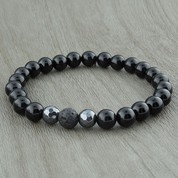 """Black Agate And Hematite With Lava """"Bead"""" Stretch Bracelet"""
