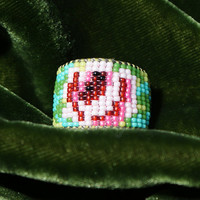 Shabby Rose Tiniest Micro Seed Bead Band Ring ... your size or adjustable