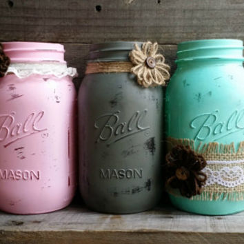 Distressed Quart Size Mason Jars, Rustic Wedding Decor, Wedding Centerpiece, Rustic Home Decor, Baby Shower Decor, Set of 6