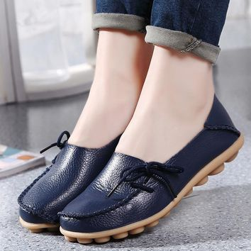 Fashion NEW Leather Women Flats Moccasins Loafers Wild Driving women Casual Ballet Sho