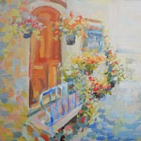 Landscape Provence Oil Painting Morning French Town Summer Cityscape Contemporary Flowers Nature Art  Wall Decor Abstract  Realism Province