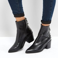 Carvela Slight Zip Up Back Leather Heeled Ankle Boots at asos.com