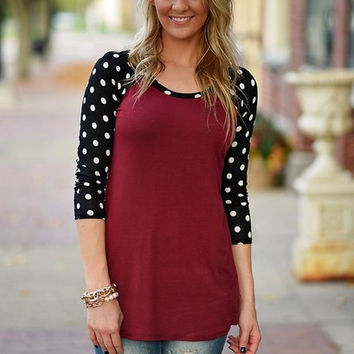 Burgundy And Black Polkadot Sleeve Shirt