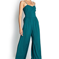 FOREVER 21 Wide-Leg Jumpsuit Turquoise