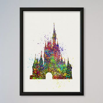Cinderella's Castle Disney Castle Poster Watercolor Print Fairy Tale Illustration Disney Picture Kids Nursery art little girl gift