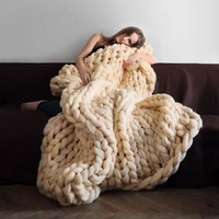 spring bedding sofa wool knitting blanket gift 2