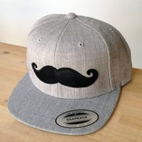SnapBack Mustache Hat with Custom Embroidered Logo.  Made to order quality snap back hats and designs