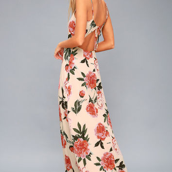Santiago Blush Pink Floral Print Backless Maxi Dress