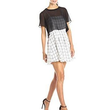 BCBGeneration Women's Patterned Tweed Dress with Overlay
