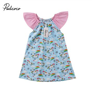 Flower Baby Girls Clothing Short Sleeve Dress Tops Mini Casual Brief Kids Baby Party Cute Animals Dresses 0-3T