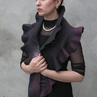 Handmade wool felted stole cape capelet scarf Elegant  by ProninA