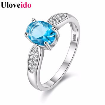 6 Colors 4 Sizes Crystal Wedding Ring Band Rings with Stones Women's Gifts Charms Engagement Jewelry Bague Femme Uloveido Y3170