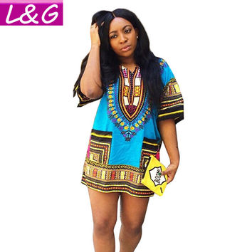 Boho Women Autumn Tunic Dress Hippie Punk Traditional Dashiki Top Shirt Dresses for African Clothing Plus Size 10744