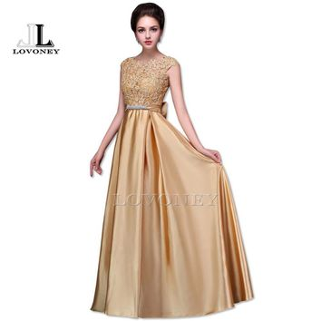 LOVONEY S306 Sexy Open Back Floor-Length Long Prom Dresses 2017 Vestido de Festa Golden Formal Evening Party Dresses Prom Gown