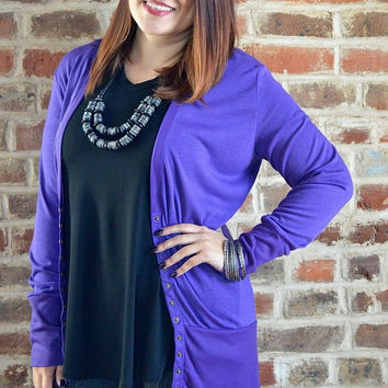 Purple Snap Cardigan
