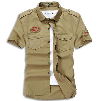 Cargo Short Sleeve Military Button Up