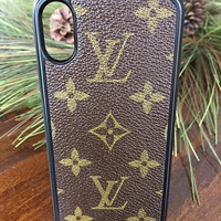 Handcrafted, repurposed louis Vuitton iphone x cell phone case fashioned with authentic monogram canvas