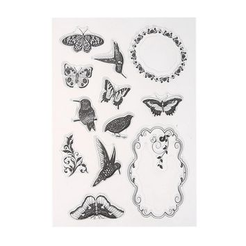 DIY Silicone Seals Scrapbooking Card Transparent Clear Stamp Scrapbook Card Butterfly Birds Garland Hand-made Craft Card