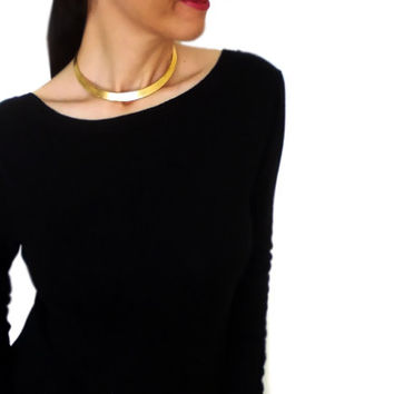 Golden Slave Choker, Brass Collar, Brutalist Simple Elegant Necklace, Antique Ethnic  Metal Statement Necklace, Minimalist