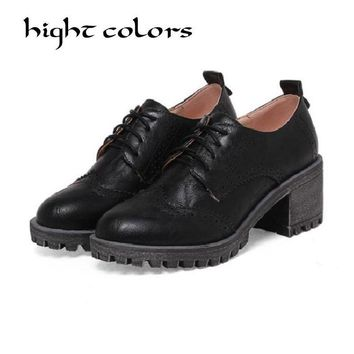 Oxfords Women Brogue Style Lace-Up Round Toe Ladies Flats Shoes Handmade High Quality Casual Oxford Shoes For Women Plus Size 43