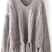 Long Sleeve V Neck Fringed Sweater