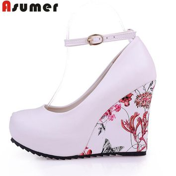 ASUMER Fashion Women Pumps 2018 High Heels Wedges Platform Summer Pumps For Women Elegant Flower Print Wedge Wedding Shoes