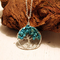 Petite Sterling Silver Tree Of Life Turquoise Necklace On Sterling Chain Wire Wrapped Pendant Jewelry December Birthstone -Birthstone Series