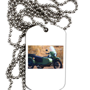Sidecar Motorcycle Photo Adult Dog Tag Chain Necklace
