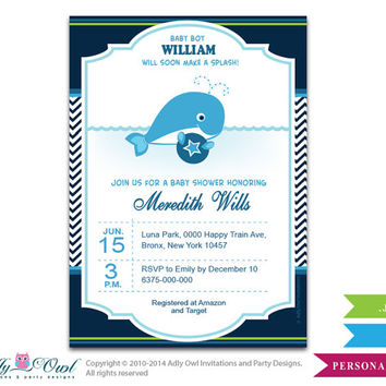 Boy Whale Invitation for Baby Shower, Squirt Boy Printable Card. Nautical Chevron baby blue,navy, green whale diy digital card -oz08bsrt