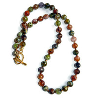 Sesame Agate Green and Orange Faceted Round Beaded Necklace