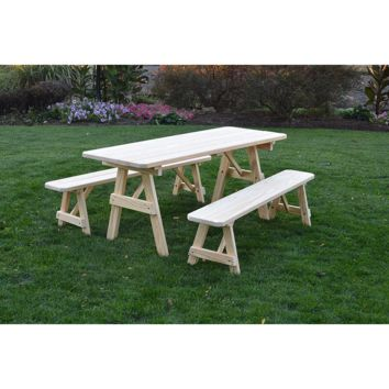 "A & L Furniture Co. Pressure Treated Pine 8' Traditional Table w/2 Benches - Specify for FREE 2"" Umbrella Hole  - Ships FREE in 5-7 Business days"