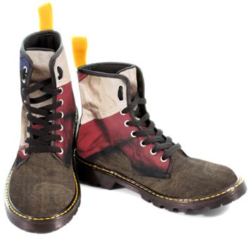 Aged American Flag Wood Women's Canvas Boots