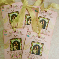 Religious Gift Tags  Virgin Mary Child Jesus Tags  Christian Gift Tags  Set 6