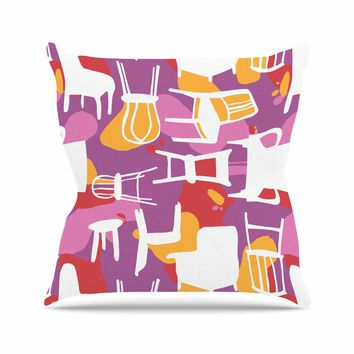 "Karina Edde ""Chairs"" Purple Red Outdoor Throw Pillow"