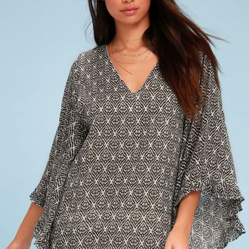 Moon Goddess Beige Print Bell Sleeve Shift Dress