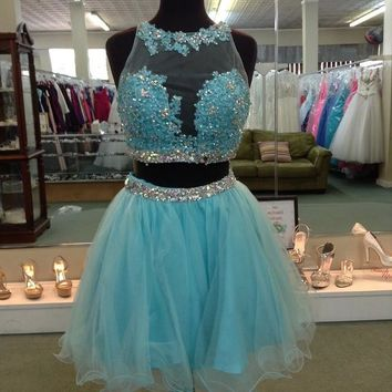 Blue Two Pieces Homecoming Dress, Sequins Chiffon Short Homecoming Dress