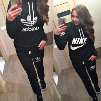 Nike Casual Hoodie Top Sweater Pants Trousers Set Adidas Two-piece Sportswear