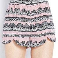 Lace Print Dolphin Shorts