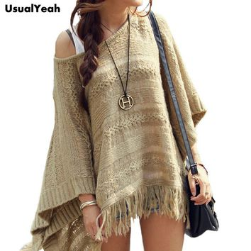 Batwing Stripes Fringed Pullover Poncho Shawl Cape