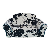 Sleeper Sofa Bed — Cowprint with Turquoise Trim + Interior