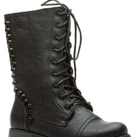 Black Faux Leather Studded Lace Up Combat Boots